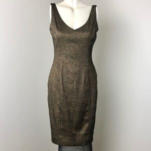 Ralph Lauren • Gold Metallic Cocktail Dress • Sz 6